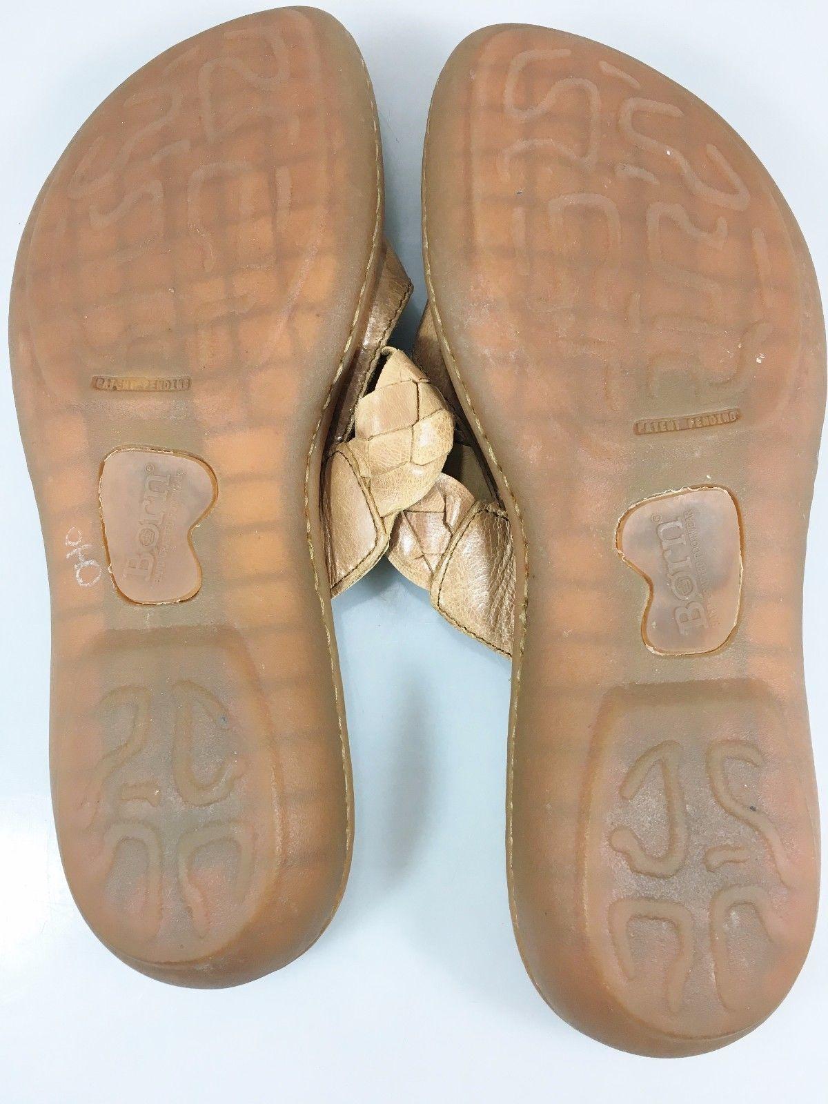Born Womens 8 US 39EU Beige Leather Woven Strap Flat Sandals