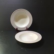 "2 Rimmed Soup Bowls Pinwheel Intaglio Mikasa 9.25"" Blue Pink Grey - $12.59"