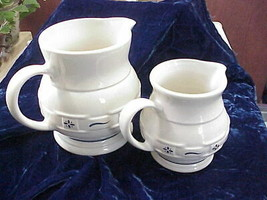 Set of 2 Longaberger Pottery Pitchers Blue Design Oven, Freezer, MW, and... - $54.45