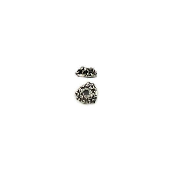 PAIR OF FLORAL BEAD CAPS FINE PEWTER - 7x7x3mm
