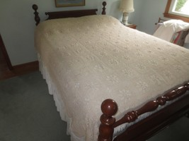 """HAND CROCHETED NATURAL LACE Cotton BEDSPREAD BED COVER - 80"""" x 90"""" - $39.95"""