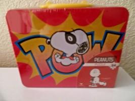 "Peanuts SNOOPY Beagle w/Puzzle 15"" X 12.5"" 24 Pieces Tin Tote / Metal Lu... - $15.99"