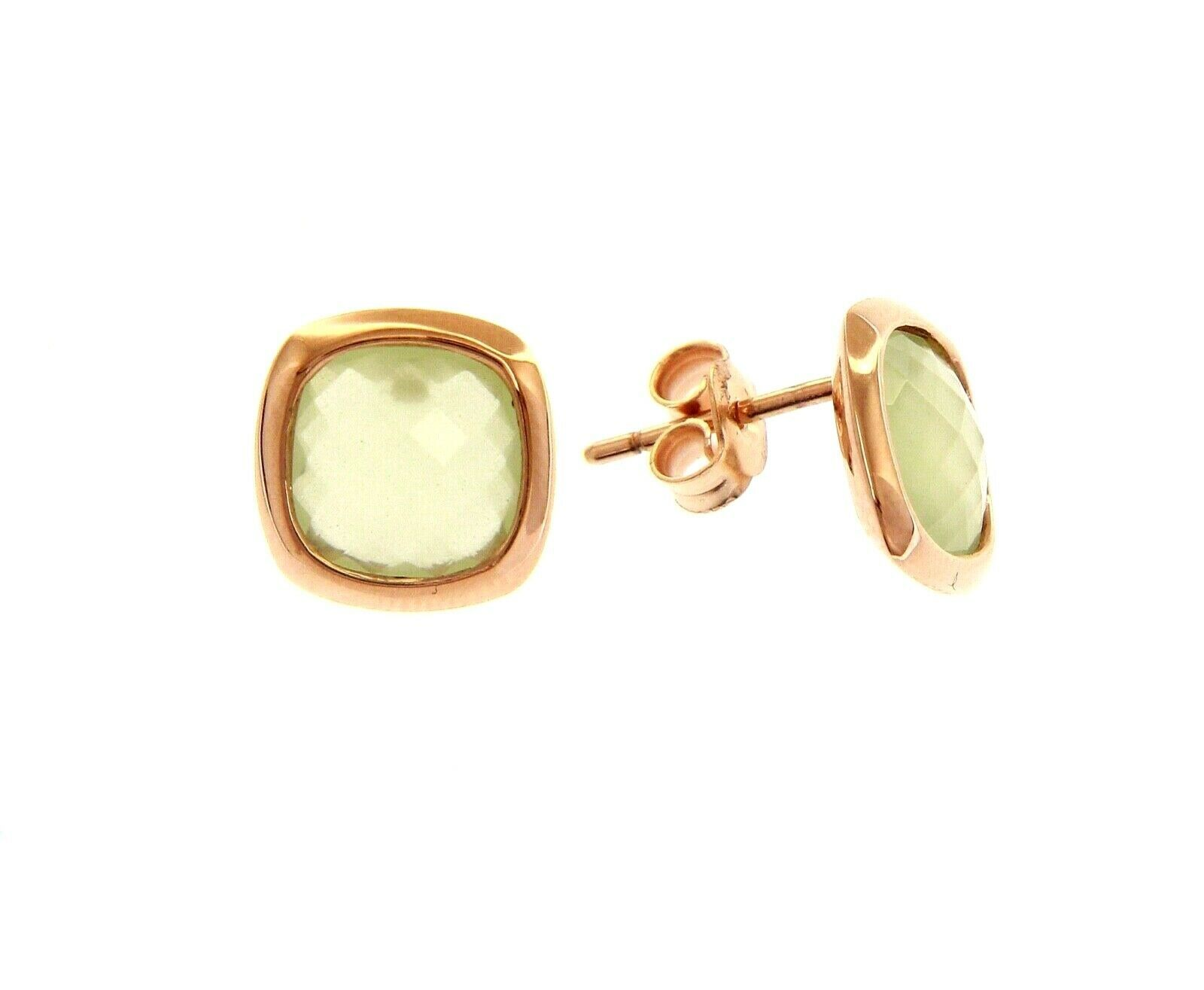 18K ROSE GOLD LOBE EARRINGS BUTTON WITH GREEN SQUARE CRYSTAL CUSHION CUT