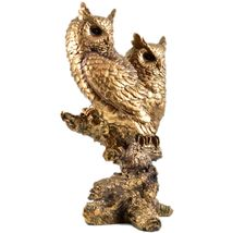 """Painted Bronze Tone Brown Owl Couple Owls in Tree 10.5"""" Resin Figurine image 4"""