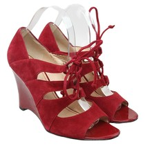 Franco Sarto L-Deco Womens Size 8 Red Suede Leather Strappy Open Toe Wed... - $28.70