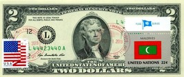 $2 DOLLARS 2013 STAMP CANCEL FLAG OF UN FROM MALDIVES LUCKY MONEY VALUE ... - $135.00
