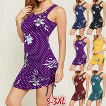 Women Polka Dot Dress Sleveless Bandage Slim Bodycon Mini Club Party Dress  - $20.99