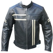 QASTAN Men's New Superb Black Motorbike CE Protectors Leather Jacket QMMJ11