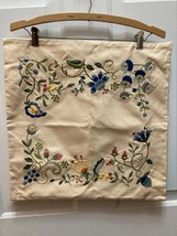 """Pottery Barn Throw Decorative Pillow Cover Cream Embroidered Flowers 18x18"""" - $29.70"""