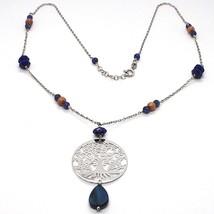925 Silver Necklace, Lapis Lazuli, pendant locket tree of life, image 1