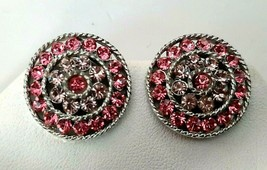 Mid Century Signed LISNER Pink Rhinestone CLIP Earrings Silver Tone Setting - $19.79