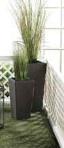 2 Tall Tuscany Polyrattan Wicker Indoor/Outdoor Planters Removable inner... - $54.40