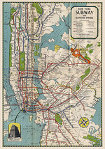 1939 NYC New York Subway Map Elevated Routes Poster Print Decor Office Wall Art - $12.38