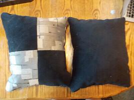 Pair of Black Gray Patchwork Decorative Throw Pillows  16 x 16 - $49.95