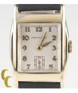 Vintage Hamilton Herren 10k Goldgefüllt Armbanduhr mit Neu Schwarz Leder... - $376.93