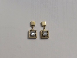 Vintage Rhinestone Drop Dangle Earrings Pierced 31464 Goldtone Clear - $29.69