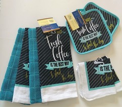COFFEE THEME KITCHEN SET 8pc Towels Potholders Cloths Turquoise Grey Cafe - $16.99