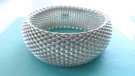 Tiffany & Co Wide Somerset Mesh Bangle Bracelet Sterling Silver - Retired - $523.80