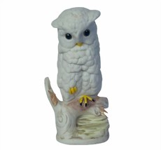 Owl figurine vtg sculpture Cybis Spain porcelain Cylis snowy bird snow p... - $39.55