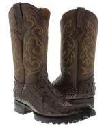 Mens Brown Biker Crocodile Pattern Leather Boots Cowboy Motorcycle J Toe - £102.63 GBP