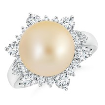 12mm Silver/Golden South Sea Cultured Pearl Diamond Halo Engagement Ring - $2,160.02+