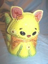 Vintage Lefton Ceramic Gingham Cat Planter w/flowers - $18.50