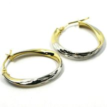18K YELLOW WHITE GOLD OVAL CIRCLE HOOPS PENDANT EARRINGS, TWISTED 2.5cm ONDULATE image 3