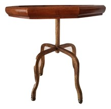 Vintage Black Walnut & Brass Octagon Plant Stand - $189.00