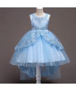 Formal Blue Dress For Girls Flower Girl Pageant Birthday Party Princess... - £45.81 GBP
