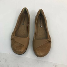 Merrell Womens Otter Comfort Flat Shoes Brown Leather Round Toe Slip Ons 8 - $33.49