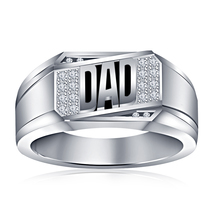 White Gold Plated 925 Silver Round Cut CZ Black Enamel Dad Ring - $79.97