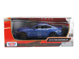 2018 Ford Mustang GT 5.0 Blue with Black Wheels 1/24 Diecast Model Car b... - $32.98
