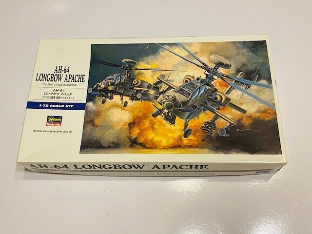 Hasegawa 1/72 AH-64 Apache Longbow Attack Helicopter Model - $30.00