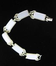 "Coro White Thermoset Plastic Bracelet Vintage On Goldtone Metal Links 7 1/4"" - $33.99"