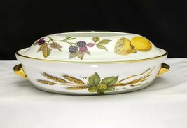 Royal Worcester Evesham Gold Small Oval Casserole Dish W/ Lid Shape 21 S... - $11.95