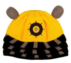 Doctor Who Yellow Dalek Image Knitted Licensed Beanie Hat, NEW UNWORN - $11.64
