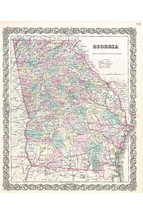 Georgia; 1855 Colton Map; Lovely First Quality Antique Reproduction - $26.72+