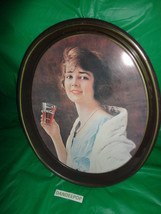 Coca-Cola Oval Tin Bar Kitchen Tray with Vintage Lady with Soda 15x12 Vi... - $17.81