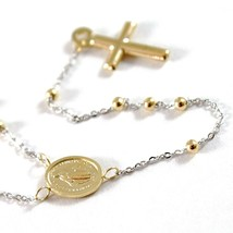 18K YELLOW WHITE GOLD MINI ROSARY NECKLACE MIRACULOUS MARY MEDAL JESUS CROSS image 2