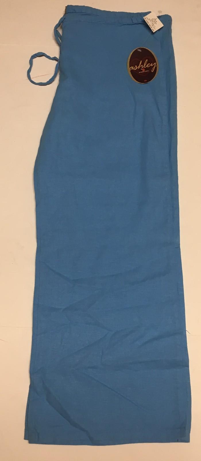 Ashley Junior Casual Capri Linen Pants Sz L Ocean Blue image 3
