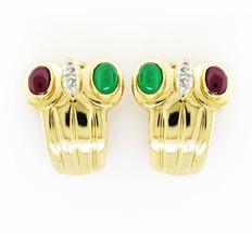 Rachel Koen 18K Yellow Gold Diamond Ruby Emerald Ear Clip Earrings - $1,299.00