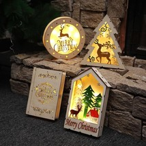 Luminous Cabins Light Gift Christmas Decoration Wood Book House Decor Or... - $20.99