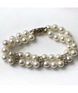 Vintage Faux Pearl Beaded Bracelet Light Creamy In Color - $15.84