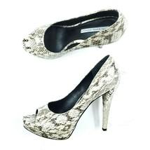 Vera Wang Lavender Womens Selima Peep Toe 7.5 M Snakeskin Pumps Heels Slide In - $37.87