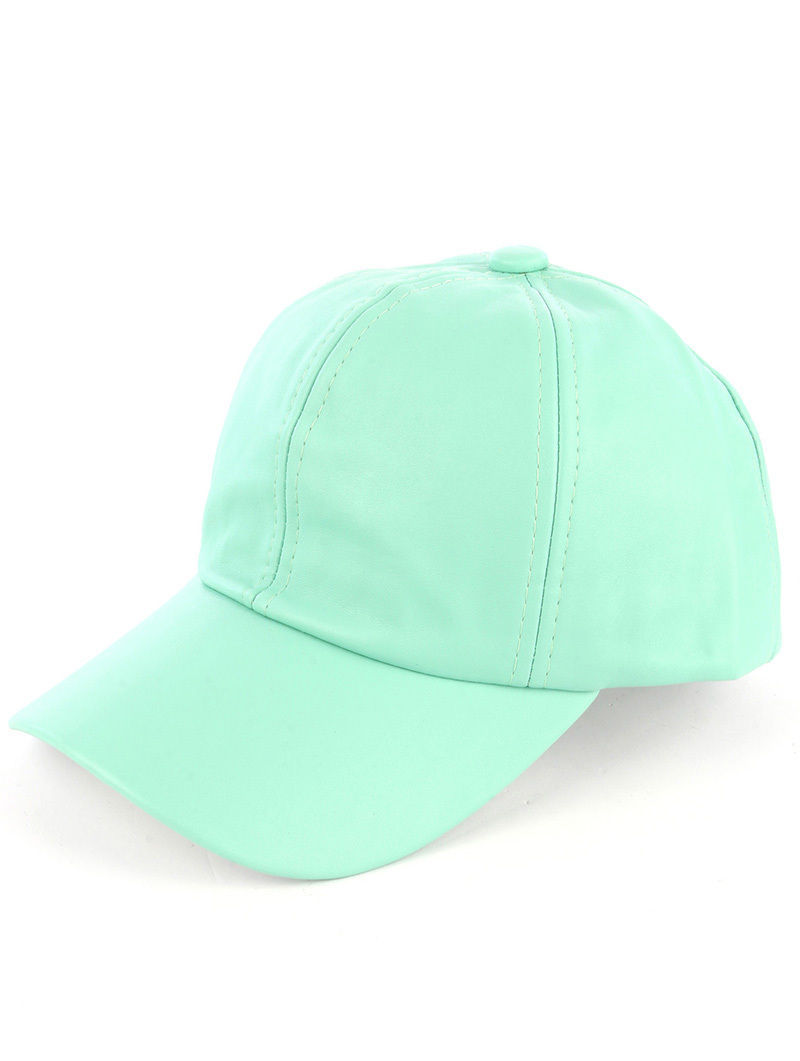 Solid Colored Baseball Cap Fashion Hat - Faux Leather Mint Green