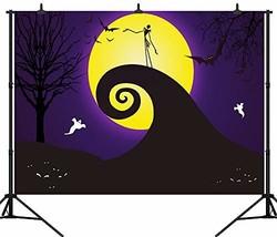 DePhoto 7X5FT210X150CM Halloween Backdrop Pumpkin Lantern Yellow Moon Gh... - €21,24 EUR