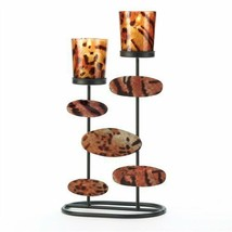Tiger Print Metal & Glass Votive Candle Holder - $15.05