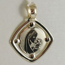 PENDENTIF MÉDAILLE OR JAUNE 375 9K, MARIE JESUS, LOSANGE, SATIN, MADE IN ITALY image 1