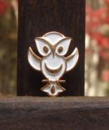 Vintage Crown Trifari Owl Pin, L'Orient Collection, White Enamel - $48.00