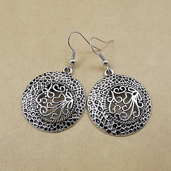 Primary image for Exotic Round Drop Earrings Antique Silver NEW